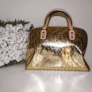 Michael Kors Large Satchel Metallic Gold Purse